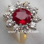 Pigeon red ruby diamonds engagement ring by Ajediam